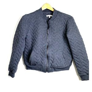 atelier max Jackets & Coats - ATELIER MAX • Quilted Heather Gray Bomber Jacket